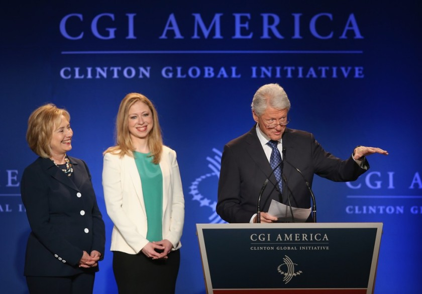 Hillary, Chelsea, and Bill Clinton at CGI in June 2013