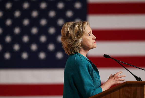 MIAMI, FL - JULY 31:  Democratic Presidential hopeful and former Secretary of State Hillary Clinton calls for an end to the Cuban trade embargo as she gives a policy speech at the Florida International University on July 31, 2015 in Miami, Florida. According to polls Clinton continues to lead the Democratic candidates running for the Democratic nomination.  (Photo by Joe Raedle/Getty Images)