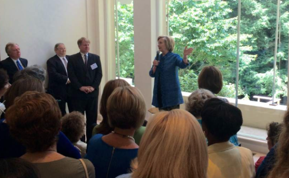 Clinton attends a private fundraiser in Fox Chapel, Pennsylvania earlier this month.