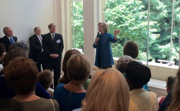 Clinton attends a private fundraiser in Fox Chapel, Pennsylvania in July 2015.