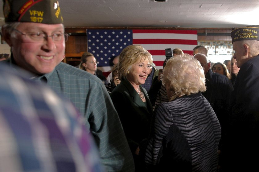 U.S. Democratic presidential candidate Hillary Clinton greets audience members following a veterans roundtable discussion with the Truman National Security Project at the VFW Hall in Derry, New Hampshire November 10, 2015. REUTERS/Brian Snyder