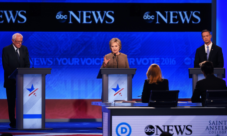 US Democratic Presidential hopefuls (L-R) Bernie Sanders, Hillary Clinton and Martin O'Malley participate in the Democratic Presidential Debate hosted by ABC News at Saint Anselm College in Manchester, New Hampshire, on December 19, 2015. AFP PHOTO / JEWEL SAMAD / AFP / JEWEL SAMAD (Photo credit should read JEWEL SAMAD/AFP/Getty Images)