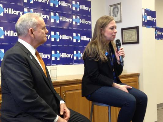 Chelsea Clinton campaigns for her mother in February 2016.