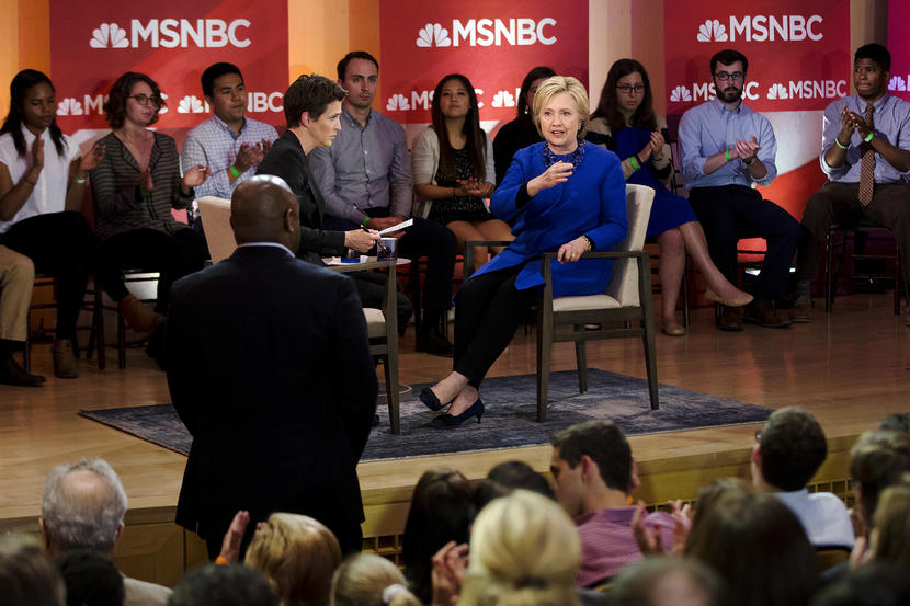 Democratic presidential candidate Hillary Clinton speak during a town hall with MSNBC's Rachel Maddow, Monday, April 25, 2016, at the National Constitution Center in Philadelphia. (AP Photo/Matt Rourke)