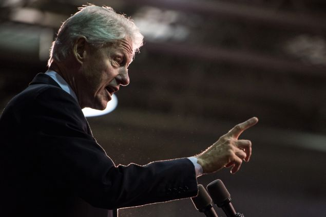 ROCK HILL, SC - FEBRUARY 25: Former President Bill Clinton addresses the audience at Freedom Temple Ministry while campaigning for his wife, Democratic presidential candidate Hillary Clinton, February 25, 2016 in Rock Hill, South Carolina. The South Carolina Democratic Primary will be held Saturday, February 27. (Photo by Sean Rayford/Getty Images)