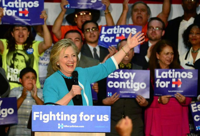 Democratic presidential candidate Hillary Clinton speaks to supporters during a campaign rally at East Los Angeles College on Thursday, May 5, 2016 in East Los Angeles. (Photo by Keith Birmingham/ Pasadena Star-News)