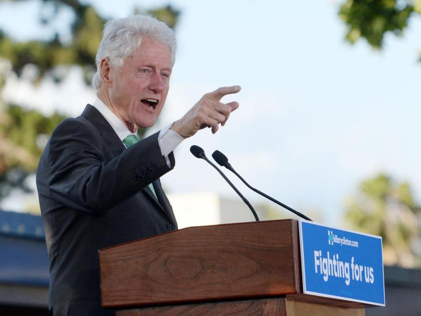 Former President Bill Clinton spoke in support of his wife, Presidential democratic candidate Hillary Clinton, Saturday May 21, 2016 before approximately 300 people at Ganesha High School. The rally was briefly interrupted by a group of protesters. (Will Lester/SCNG-Inland Valley Daily Bulletin)
