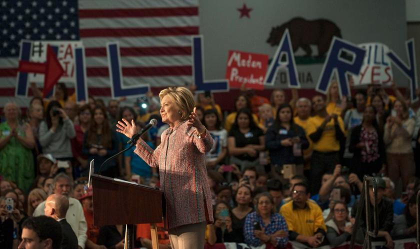 Hillary Clinton addresses the crowd Wednesday at UFCW Union Local 324 in Buena Park. ///ADDITIONAL INFO: a1.clinton.0526- shot date- 052516-ANA VENEGAS, ORANGE COUNTY REGISTER The Hillary Clinton rally at UFCW Union Local 324 in Buena Park on Wednesday drew supporters. .