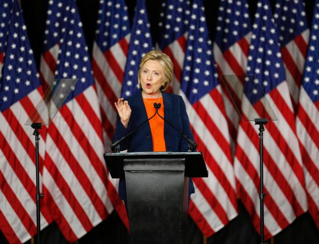 Hillary Clinton delivers a speech on national security in San Diego. REUTERS/Mike Blake