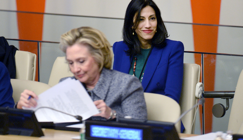 Huma Abedin (second row) aide to Hillary Clinton, and Hillary Clinton, attend Women's Empowerment Principles event at the 59th Session Of The Commission On The Status Of Women United Nations headquarters in New York, NY, on March 10, 2015. (Photo by Anthony Behar) *** Please Use Credit from Credit Field ***