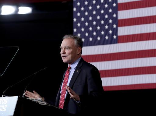 Democratic vice presidential candidate Sen. Tim Kaine, D-Va., speaks during a campaign stop, Thursday, Nov. 3, 2016, in Phoenix. (AP Photo/Matt York)