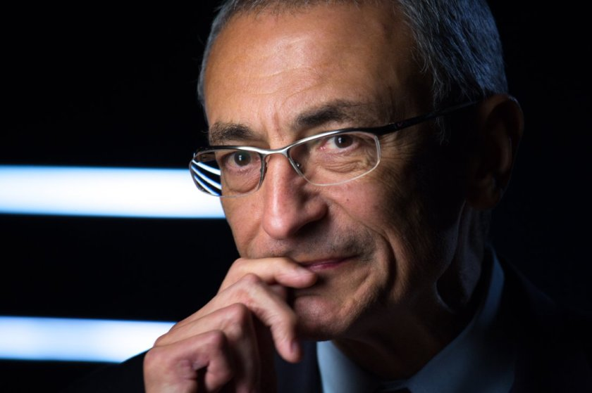 "WASHINGTON, DC -- NOVEMBER 9: Former Clinton White House Chief of Staff, John Podesta, being interviewed for Discovery Channel's, ""The President's Gatekeepers,"" November 9, 2012, in Washington, D.C. (Photo by David Hume Kennerly/Getty Images)"